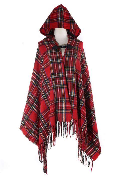 Plaid Woolen Cape Cardigan 15946 tartan plaid soft hooded cardigan tartan this