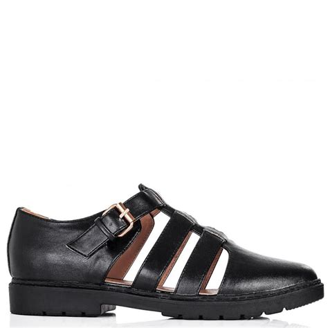 buy motel flat buckle cut out shoes black leather style