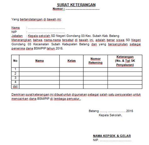 format surat kuasa kepala sekolah contoh surat keterangan kepala sekolah untuk pencairan bsm