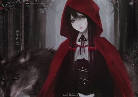 wallpaper  red riding hood wolf long hair ribbons