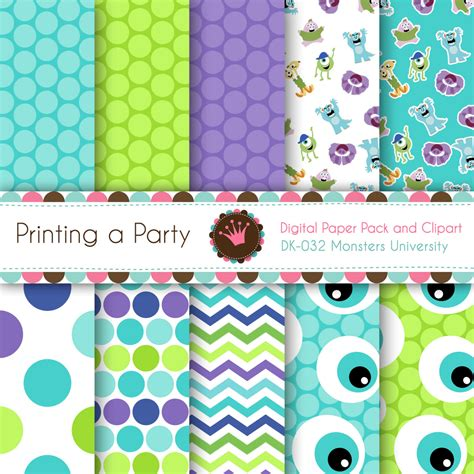 digital paper pack and clip art monsters university monsters