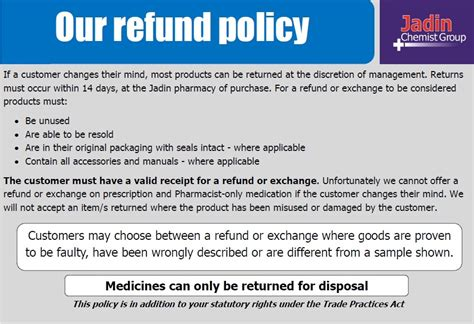 returns policy template jadin chemist services we offer brisbane pharmacy