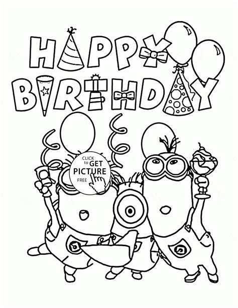 birthday coloring page happy birthday from minions coloring page for