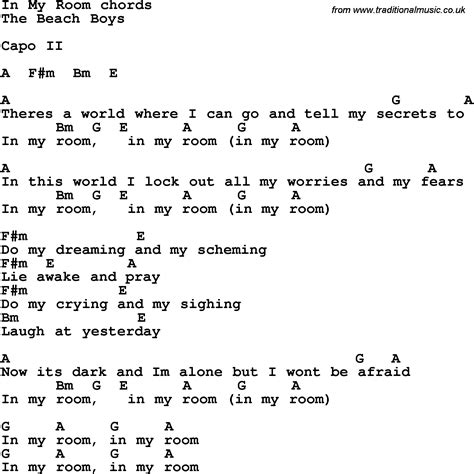 room lyrics song lyrics with guitar chords for in my room