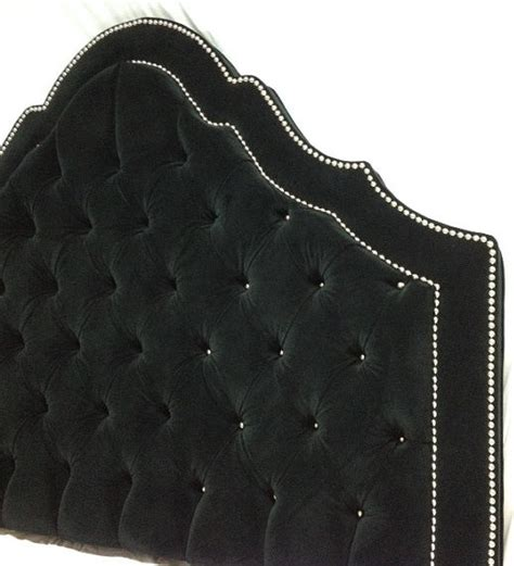Black Velvet Tufted Headboard Nickel Nailheads By New