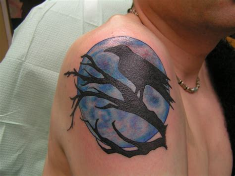 the crow tattoo designs moon picture