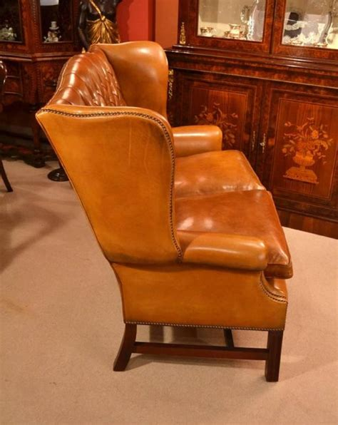 Handmade Leather Furniture - handmade leather club settee sofa cognac for sale