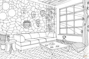 home design coloring book living room in african style coloring page free