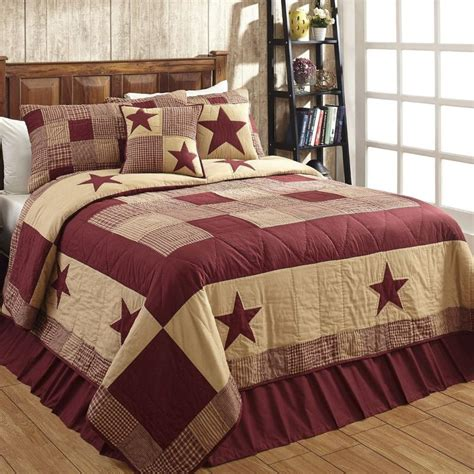 jamestown burgundy tan quilted bedding set pc queen dl country barn