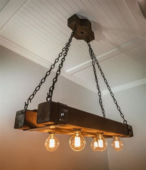 Wood Beam Chandelier Rustic Wood Beam Chandelier With Edison Bulbs Forged Iron Straps
