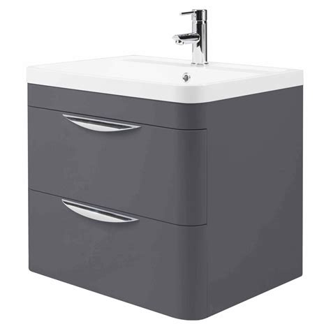 Two Drawer Unit Monza Wall Hung 2 Drawer Vanity Unit With Basin W600 X