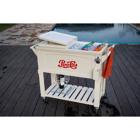 permasteel 80 qt rolling patio cooler furniture style ps