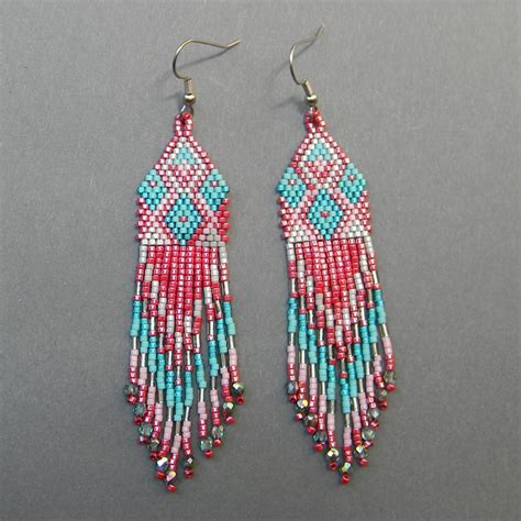 how to bead earrings with seed seed bead earrings crimson turquoise by anabel27