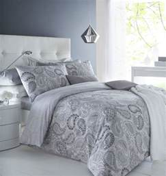 Grey Bedroom Quilt Paisley Grey Duvet Cover Pillowcase Set Reversible Bedding