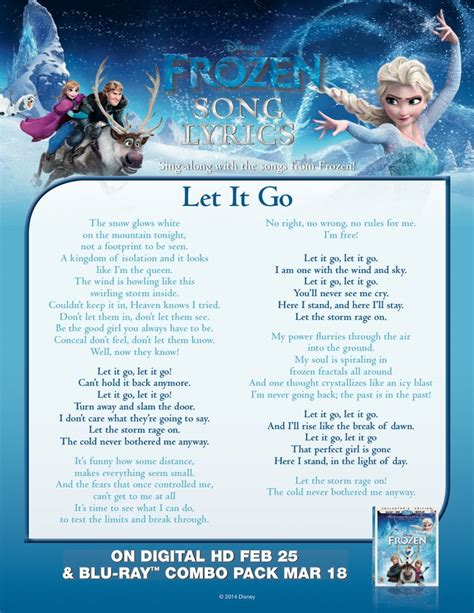 let it go sing quot let it go quot with this lyric sheet frozen pinterest disney let it go lyrics and frozen