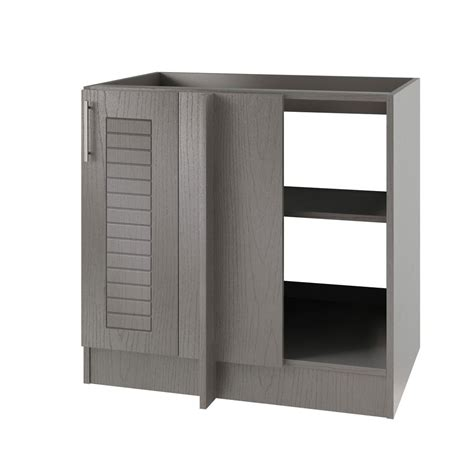 outdoor kitchen corner cabinet weatherstrong assembled 39x34 5x24 in key open back