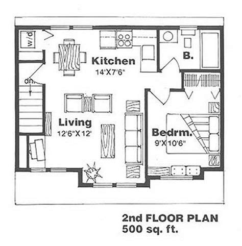 500 sq ft floor plan farmhouse style house plan 1 beds 1 baths 500 sq ft plan