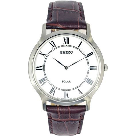 seiko s solar classic brown leather watches