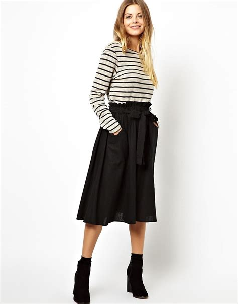 asos asos linen midi skirt with pocket detail at asos