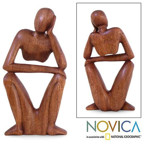 thinking of you wood sculpture indonesia