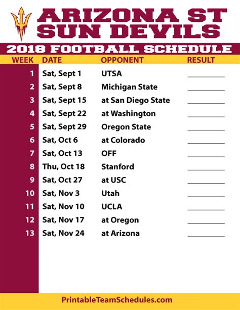 printable suns schedule 2018 printable arizona state football schedule