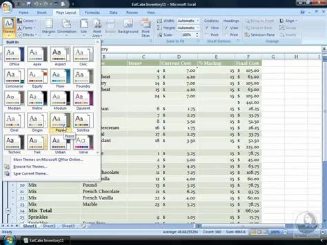 theme exles xlsx adding themes to your worksheet excel 2007 essential training
