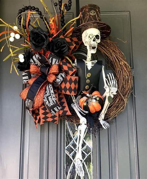 skeleton wreath skull front door wreath halloween decor