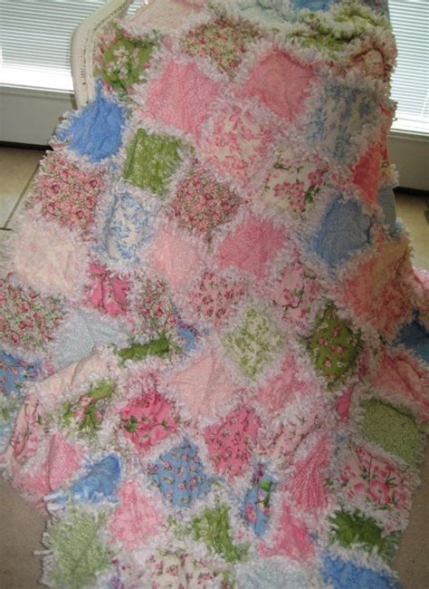 rag quilt blanket throw size shabby chic tranquility