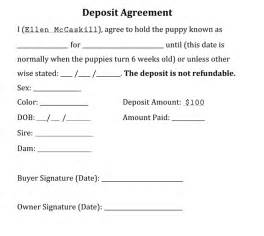Puppy deposit contract form