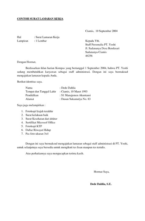 format surat lamaran kerja dan riwayat hidup 9 surat lamaran kerja dan daftar riwayat hidup ben jobs