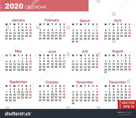 new year photo grid calendar new year 2020 grid date stock vector 563734810