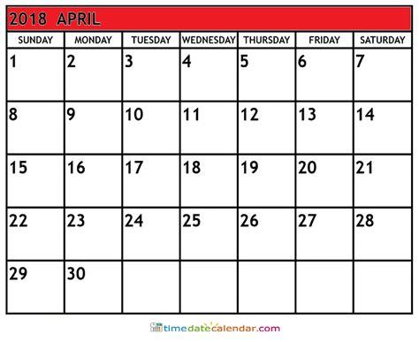 Calendar For April 2018 Calendar South Africa Free Printable Template