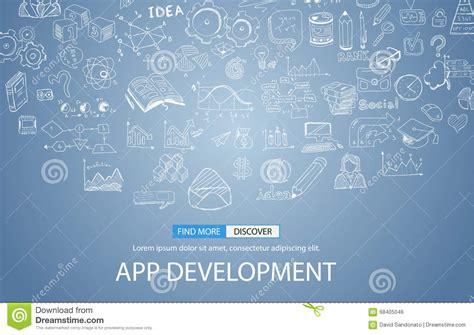 design application background app development concept background with doodle design