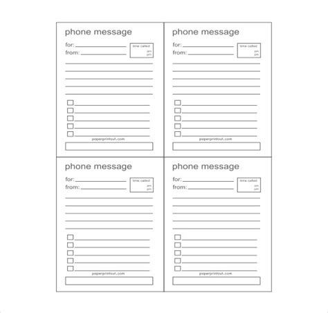 Telephone Message Template For The Receptionist To Use