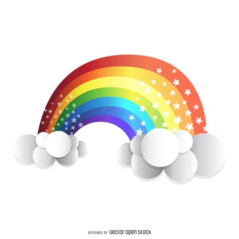 Flat Decoration by Isolated 3d Rainbow Free Vector