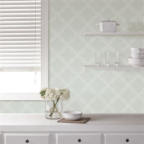 peel and stick wallpaper reviews wallpops grey quatrefoil peel and stick wallpaper