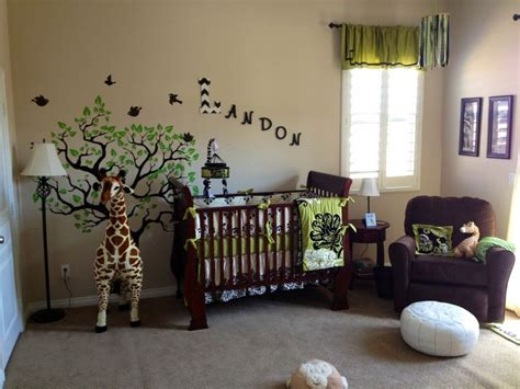 Safari Curtains For Nursery Safari Nursery Modern Giraffe Theme Boys Room Green And Black Baby Room Ideas