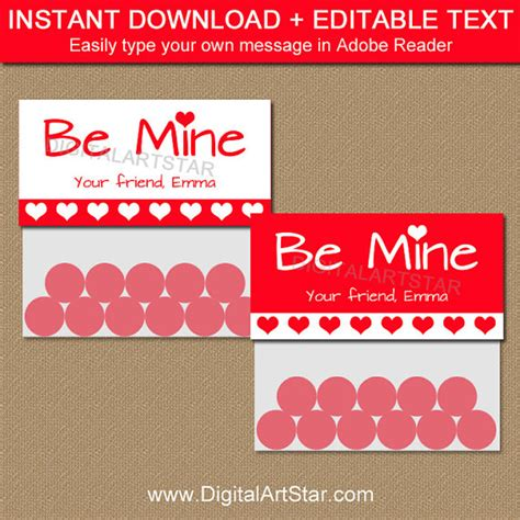 treat label template valentines day treat bag toppers printable