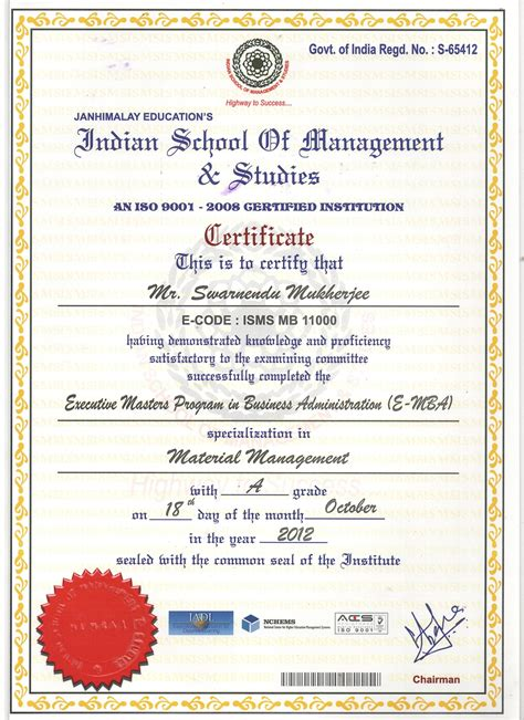 Mba In Safety Management Distance Learning by Mba Certificate Image India Best Design Sertificate 2017
