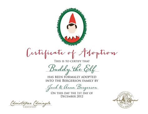 printable elf on the shelf certificate pin by beth schulken bryan on christmas elf on the shelf