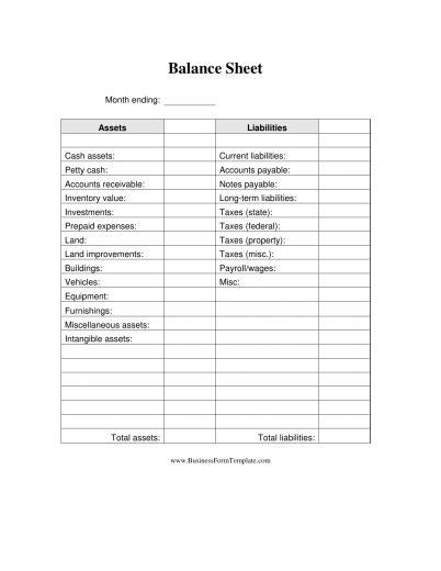 Download Business Balance Sheet Template Excel Pdf Rtf Word Freedownloads Net Ytd Balance Sheet Template