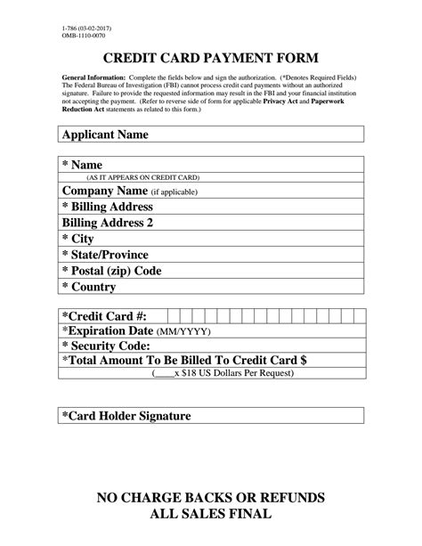 Credit Card Guarantee Form Template Credit Card Payment Form Fbi
