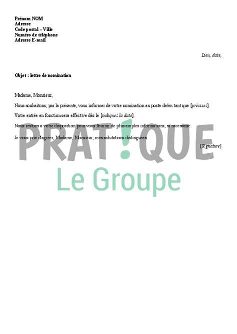 Demande De Nomination Lettre Modele Lettre Nomination Document