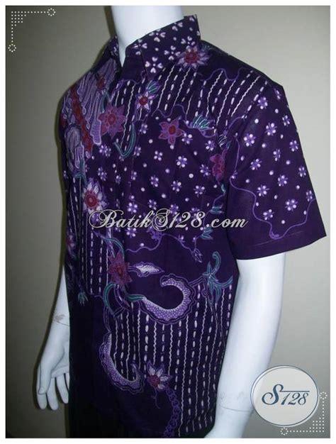 Celana Pendek Batik Pria Murah kemeja batik tulis ungu hem pria lengan pendek murah