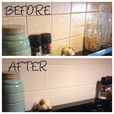 older and wisor painting a tile backsplash and more easy kitchen backsplash painted over ugly old tile using annie