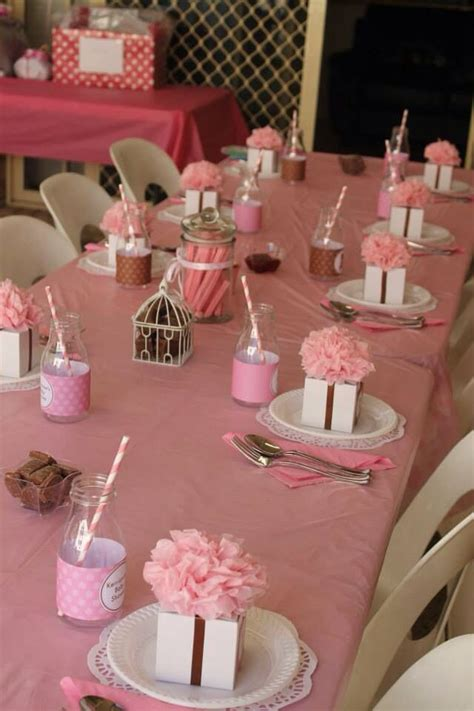 juna s baby shower table setting theme pink tan white and elephants shower ideas baby shower girl baby shower girl pinterest