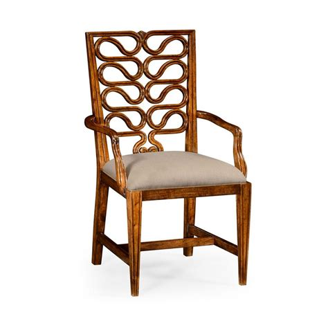 Open Back Dining Chairs Jonathan Charles 492286 Serpentine Open Back Dining Chair Arm Discount Furniture At