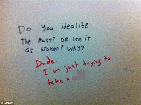 things written on bathroom walls funny bathroom wall graffiti photogiraffe me