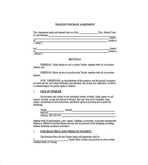 bill of sale template for trailer trailer bill of sale 8 free sle exle format