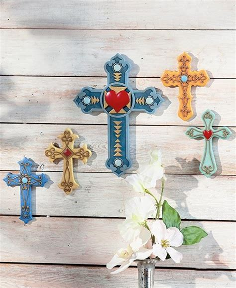 set of 5 wall crosses colorful southwest rustic country